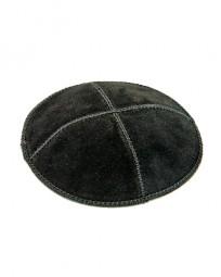 Кипа (кожа-замша), черная, 16 см.